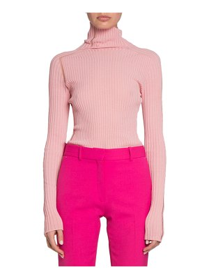 Victoria Beckham Lightweight Ribbed Ladder-Trim Top