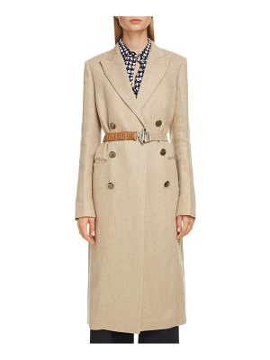 Victoria Beckham linen coat with leather belt