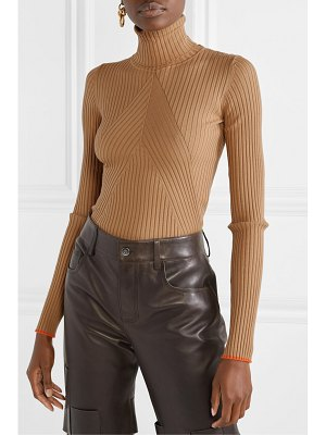 Victoria Beckham paneled ribbed wool turtleneck sweater