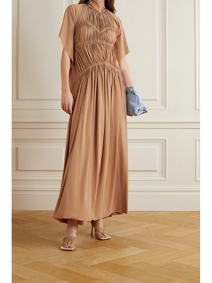 Victoria Beckham pleated ruched stretch-jersey maxi dress