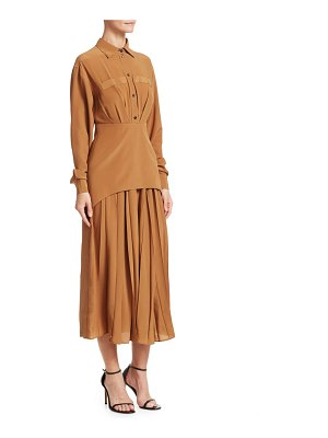 Victoria Beckham silk pleated shirtdress