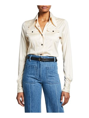 Victoria Beckham Slim Fit Pintucked Silk Shirt