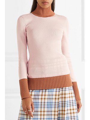 Victoria Beckham two-tone ribbed wool-blend turtleneck sweater