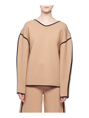 Victoria by Victoria Beckham Bonnie V-Neck Long-Sleeve Top