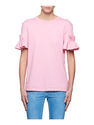 VICTORIA BY VICTORIA BECKHAM Crewneck Ruffle Wide-Cuff Cotton T-Shirt