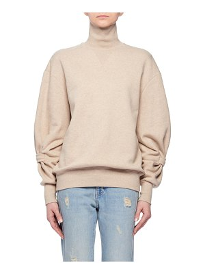 Victoria by Victoria Beckham Long-Sleeve Cotton Turtleneck Sweatshirt w/ Band on Lower Arm
