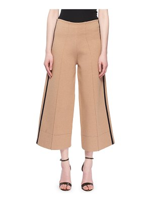 Victoria by Victoria Beckham Pull-On Flared Crop Leg Pants w/ Tux Stripe
