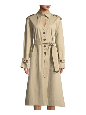Victoria / Tomas Keyhole Mixed-Button Trench Coat