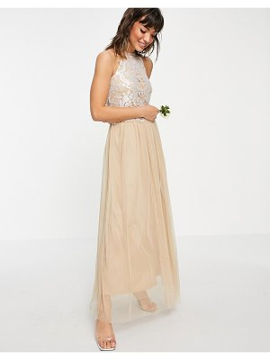 Vila bridal halterneck dress with sequin body and tulle skirt in champagne-gold