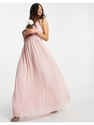 Vila bridesmaid maxi dress in pink