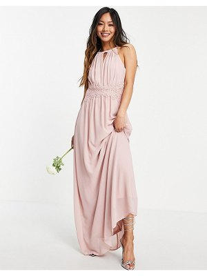 Vila bridesmaid maxi halterneck dress in pink