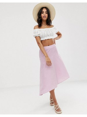 Vila check midi skirt-pink