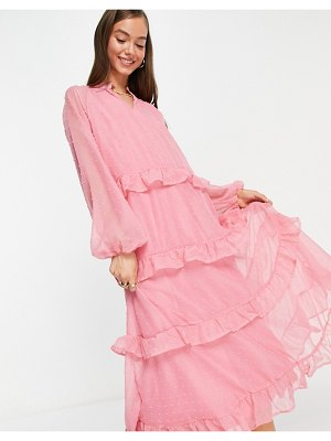 Vila chiffon midi dress with tiered skirt detail in pink