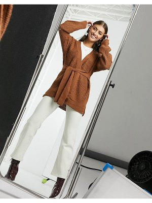 Vila chunky knit cardigan in brown