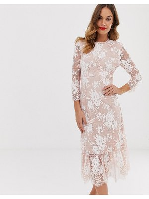 Vila contrast lace midi dress
