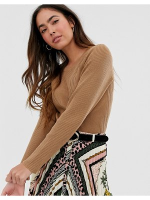 Vila crew neck short fitted knitted top-tan