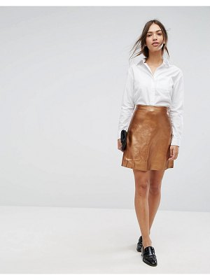 Vila faux leather metallic mini skirt-tan