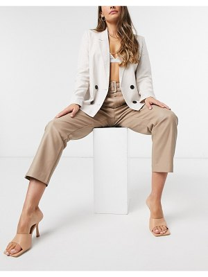 Vila faux leather pants with waist belt in beige