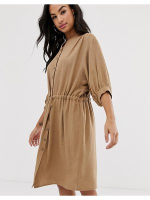 Vila gathered waist linen utility dress