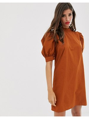 Vila high neck balloon sleeve mini dress-brown