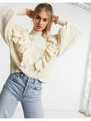 Vila high neck chunky knit sweater with frill detail and balloon sleeve in cream