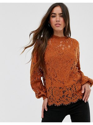 Vila high neck lace top-brown