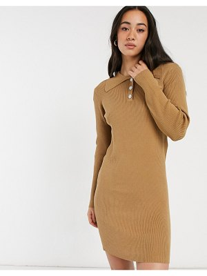 Vila knitted polo dress with button detail in tan-neutral