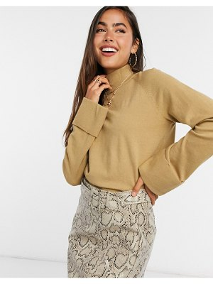 Vila knitted sweater with folded cuffs in brown