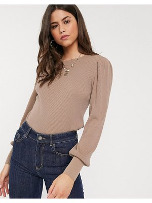 Vila knitted top with balloon sleeves in taupe-neutral