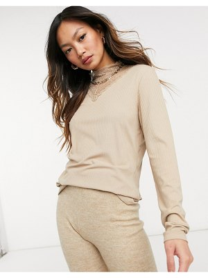 Vila lace insert long sleeved top in beige-cream