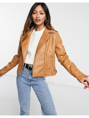 Vila leather look jacket in tan-brown