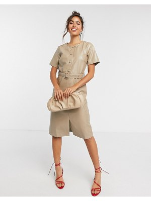 Vila leather-look midi dress with belt and button detail in beige