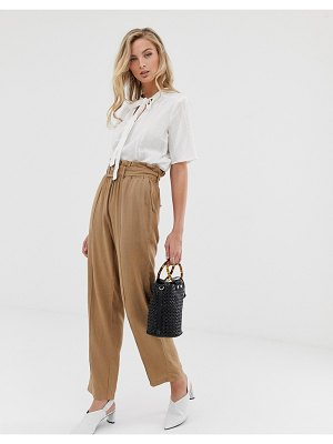 Vila linen mix paperbag pants