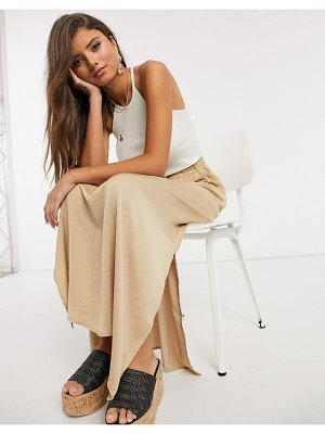 Vila maxi skirt with side split in beige