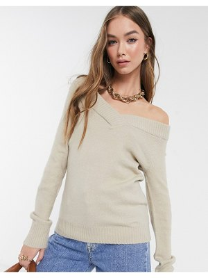 Vila off the shoulder sweater in beige-neutral