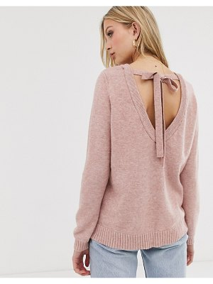 Vila open back knitted sweater-pink