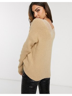 Vila oversized sweater with lace back detail-neutral