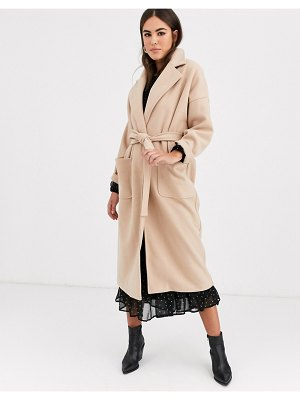 Vila oversized wrap coat in camel-beige