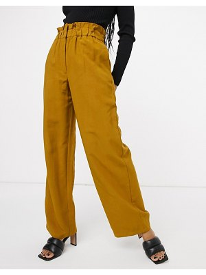 Vila paperbag high waisted wide leg pants in brown