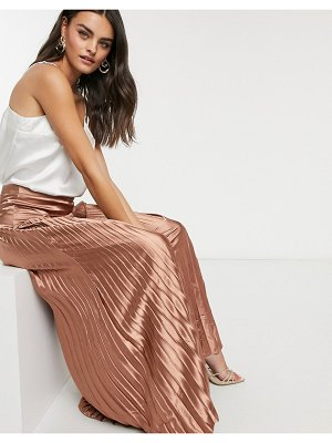 Vila pleated satin maxi skirt in bronze-brown