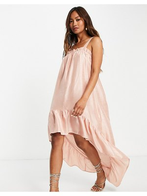 Vila ruched cami dress with high low hem in pink