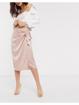 Vila satin wrap skirt in pink-beige