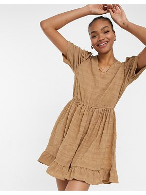 Vila smock dress with puff sleeves in textured camel-brown