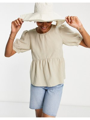 Vila smock top with tie back in neutral gingham