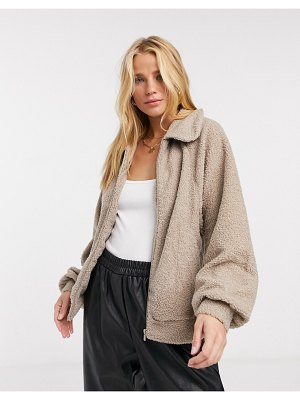 Vila teddy jacket in beige
