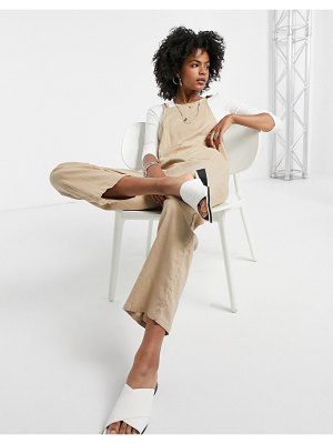 Vila tie shoulder overalls in tan