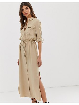 Vila utility midi shirt dress in cream