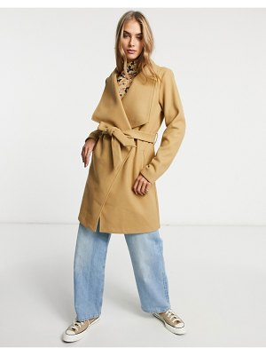Vila wrap coat with tie wasit in brown