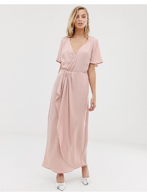 Vila wrap maxi dress with pleat detail-pink