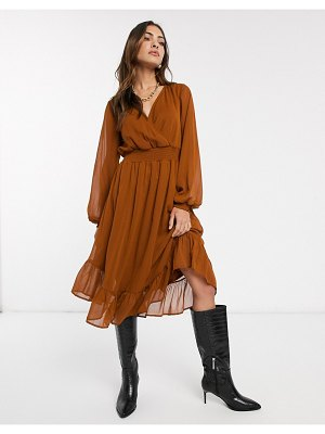 Vila wrap midi dress with sheer volume sleeve-beige